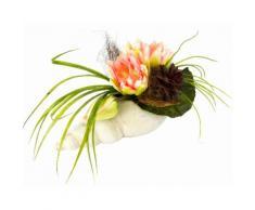 Kunstpflanze Gesteck Seerose in Muschel, rosa, rosa
