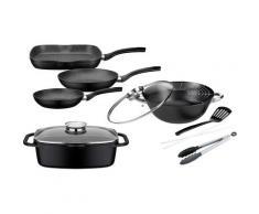 GSW Topf-Set Gourmet Granit (Set, 7-tlg., (3 Pfannen, 1 Bräter, Multi-Wok, Kochzange, Pfannenwender)) schwarz Topfsets Töpfe Haushaltswaren Topf