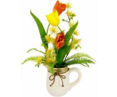 I.GE.A. Kunstblume Arrangement Tulpen, Krug aus Keramik gelb Künstliche Zimmerpflanzen Kunstpflanzen Wohnaccessoires
