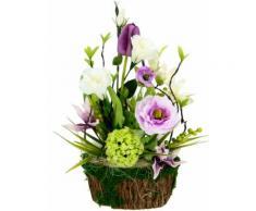 I.GE.A. Kunstblume Arrangement Ranunkel/Lysianthus, Pflanzschale aus Rinde mit Moos lila Künstliche Zimmerpflanzen Kunstpflanzen Wohnaccessoires