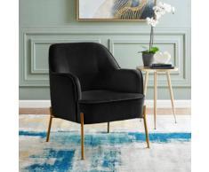 Leonique Sessel Runa, mit einem schönen pflegeleichten Samtvelours Bezug, in vier unterschiedlichen Farbvarianten, Sitzhöhe 44 cm schwarz LEONIQUE Möbel