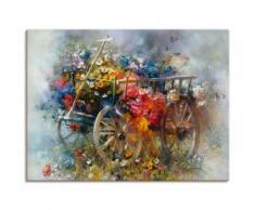 Artland Wandbild Blumen Schubkarre bunt Bilder Bilderrahmen Wohnaccessoires
