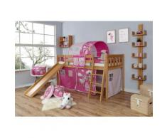 Ticaa Hochbett Ekki, mit Rollrost und Textil-Set wahlweise Matratze, Buche beige Kinder Hochbetten Kinderbetten Betten