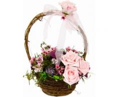 Kunstpflanze Blüten in Weidekorb, rosa, rosa
