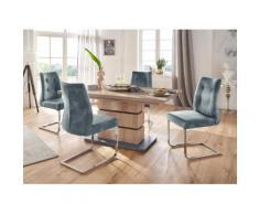 Homexperts Essgruppe Bonnie Breite 140 cm mit 4 Stühlen, wildeichefarben/blau