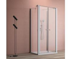 maw by GEO Eckdusche A-U110, ebenerdiger Einbau möglich silberfarben Bodenablauf Duschkabinen Duschen Bad Sanitär