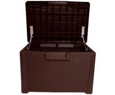 ONDIS24 Auflagenbox Nevada Kompakt, 120 Liter, Kunststoff braun Garten- Kissenboxen Gartenmöbel Gartendeko
