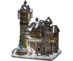 KONSTSMIDE LED-Dekofigur, LED Fiberoptikhaus mit Burgszene und rotierendem Weihnachtsbaum, Musik bunt LED-Dekofigur Konstsmide