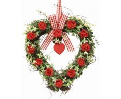 Kunstpflanze Rattan-Herz Rosen 27 cm, rot, rot