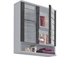 Schildmeyer Hängeschrank Nikosia, Breite 60 cm, mit Glastüren, hochwertige MDF-Fronten, Metallgriffe grau Bad-Hängeschränke Badmöbel