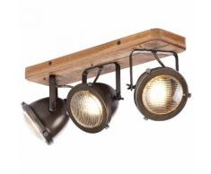 Brilliant Leuchten Carmen Wood Spotbalken 3flg burned steel/holz grau Deckenleuchten SOFORT LIEFERBARE Lampen