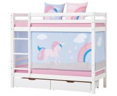 Hoppekids Etagenbett Einhorn, inkl. Vorhang-Set, Matratzen und Rollroste weiß Kinder Kinderbetten Kindermöbel