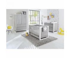 Komplett Kinderzimmer CURVE, (Kinderbett, breite Wickelkommode und Kleiderschrank 2-trg.), Esche grau