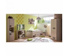 Komplett Jugendzimmer Camo, 6-tlg., (Einzelbett, Kleiderschrank, Standregal, Kommode, Nachttisch, Wandregal), grau