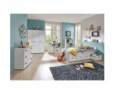 Komplett Jugendzimmer Moritz 5-tlg. (Kleiderschrank 3-türig, Kommode, Standregal mit 6 Fächern, Schreibtisch und Jugendbett), weiß mit Kante türkis