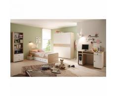 Komplett Jugendzimmer Vicky, 4-tlg. (Einzelbett, Schwebetürenschrank, Schreibtisch, Standregal), Sonoma-Weiß