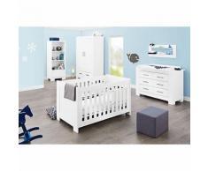 Komplett Kinderzimmer ICE groß, (Kinderbett, Wickelkommode breit und 2-türiger Kleiderschrank), weiß edelmatt