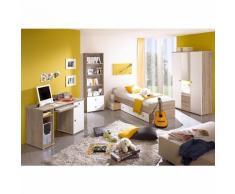 Komplett Jugendzimmer Vicky, 4-tlg. (Einzelbett, Kleiderschrank, Schreibtisch, Standregal), Sonoma-Weiß