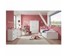 Komplett Jugendzimmer Mia 5-tlg. (Kleiderschrank 3-türig, Kommode, Standregal mit 6 Fächern, Schreibtisch und Jugendbett), weiß mit Kante pinkfarbig