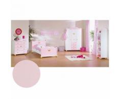 Komplett Jugendzimmer PRINZESSIN KAROLIN, 3-tlg. (Jugendbett, Kommode und 3-türiger Kleiderschrank), Fichte massiv/Weiß-Rosa lasiert