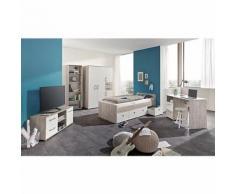 Komplett Jugendzimmer Bente 5-tlg. (Kleiderschrank 4-türig, Standregal mit 5 Fächern, Schreibtisch, Lowboard und Jugendbett), weiß/Eiche Sand