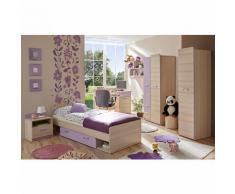 Komplett Jugendzimmer Lori, 6-tlg. (Jugendbett, Kleiderschrank, Standregal, Schreibtisch, Nachttisch, Wandregal), violett