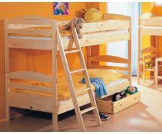Taube Jens Kinderzimmer Etagenbett Weiß-lackiert Treppe 90x190 cm