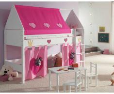 Taube Kinderzimmer Prinzessin Hochbett Weiß-lackiert 90x200 cm Leiter 154cm