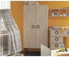 Taube Kinderzimmer Natura Kleiderschrank 3-türig Weiß geölt