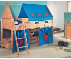 Taube Kinderzimmer Ritter Hochbett Buche-lackiert 90x190 cm Leiter 154 cm