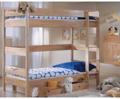 Taube Oliver Kinderzimmer Etagenbett 90x190 cm Birke lackiert Treppe 154 cm
