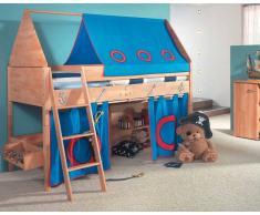 Taube Kinderzimmer Pirat Hochbett Buche-lackiert 90x200 cm Leiter 124 cm