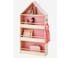 Holzregal in Hausform für Mädchen natur/rosa von vertbaudet