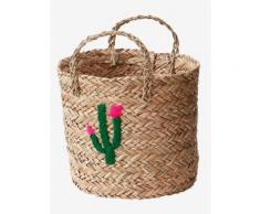 Weidenkorb, gestickter Kaktus natur von vertbaudet
