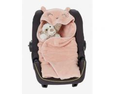 Kuschelige Babydecke mit Kapuze puderrosa von vertbaudet