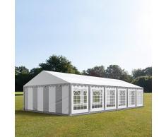 Profizelt24 Partyzelt 6x12m PVC grau-weiß Gartenzelt, Festzelt, Pavillon