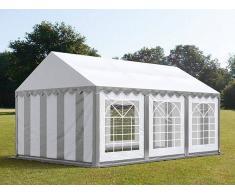 Profizelt24 Partyzelt 3x6m PVC grau-weiß Gartenzelt, Festzelt, Pavillon