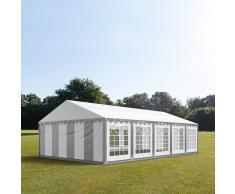 Profizelt24 Partyzelt 6x10m PVC grau-weiß Gartenzelt, Festzelt, Pavillon