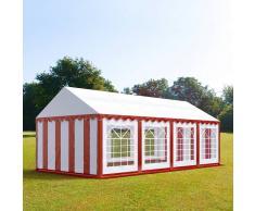 Profizelt24 Partyzelt 4x8m PVC rot-weiß Gartenzelt, Festzelt, Pavillon
