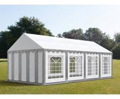 Profizelt24 Partyzelt 4x8m PVC grau-weiß Gartenzelt, Festzelt, Pavillon