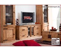 1a Direktimport Mexico Hacienda Lowboard TV-Tisch, Pinie massiv