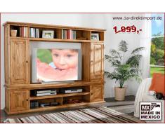 1a Direktimport Wohnwand TV-Wand MEXICO, Landhausstil Möbel, Pinie massiv