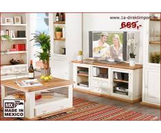 1a Direktimport TV-Tisch Lowboard MEXICO, Pinie weiß / honig, Landhausstil Möbel, shabby