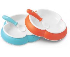 BABYBJÖRN Geschirr- und Besteckset  Kinderteller, Löffel und Gabel, Orange/Türkis