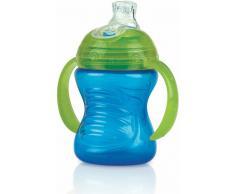 Nuby auslaufsichere Trinklerntasse  240ml mit Soft Silikon Trinkmundstück und variablem Trinkfluss, blau (ID10052B)