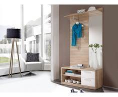 Möbel-Eins ARIC Kompaktgarderobe Eiche Sonoma / weiss