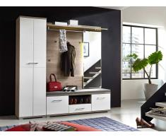 Möbel-Eins PIANO II Garderobenset Silbereiche / weiß