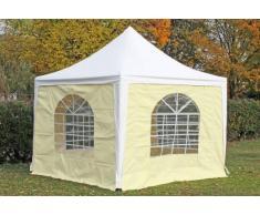 Stabilezelte Pavillon 3x3m weiß / beige PVC Pagodenzelt Arabica Profi wasserdicht