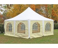 Stabilezelte Pavillon 5x5m weiß / beige PVC Pagodenzelt Arabica Profi wasserdicht