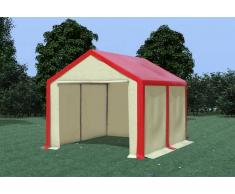 Stabilezelte Partyzelt Pavillon 3x4m Modular Pro PVC wasserdicht rot / beige